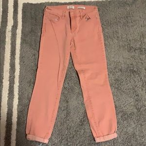 Pink Rolled Cropped Skinny Jeans